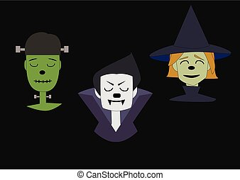 potwór, strzyga, twarz, zielone tło, czarownica, czarnoskóry
