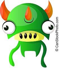 potwór, tło, ilustracja, wektor, zielony, potrójny, rogi, biały