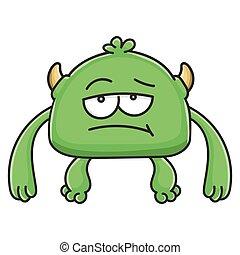 potwór, znudzony, rysunek, chochlik, zielony