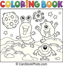 potwory, temat, 2, kolorowanie, przestrzeń, książka
