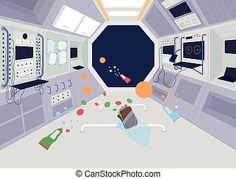 powaga, wektor, zero, kolor, płaski, ilustracja, statek