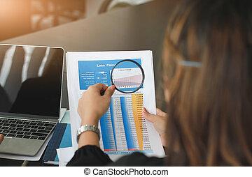 powiększający, dane, analizując, finansowy, drużyna, szkło, handlowy