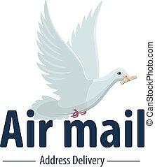 powietrze, doręczenie, wektor, poczta, poczta, gołębica, ptak, ikona
