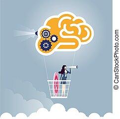 powietrze, mózg, -, idea., pojęcie, mądry, cielna, biznesmen, balloon, solution., przelotny, ilustracja