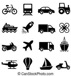 powietrze, przewóz, ziemia, woda, komplet, ikona