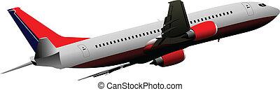 powietrze., samolot, wektor, illust