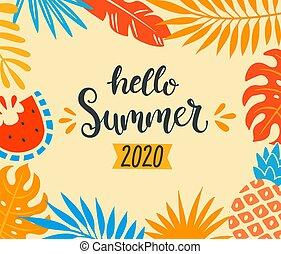 powitanie, 2020, tropikalny, lato, banner.