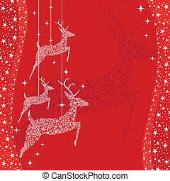 powitanie, jeleń, kartka na boże narodzenie, czerwony