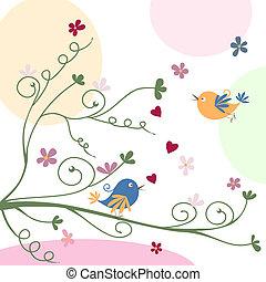 powitanie karta, ptaszki
