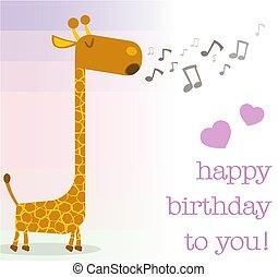 powitanie, urodziny, żyrafa, śpiew, karta, szczęśliwy