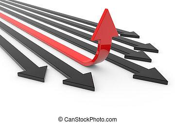powodzenie, czerwona strzała, growth., pojęcie, do góry.