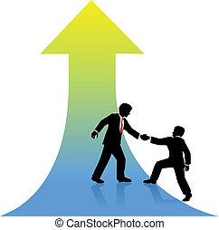 powodzenie, handlowy, do góry, porcja, osoba, towarzysz