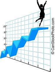 powodzenie, handlowy, towarzystwo, wykres, do góry, osoba, wzrost