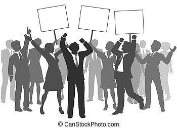 powodzenie, handlowy zaludniają, drużyna, 3, znaki, świętować