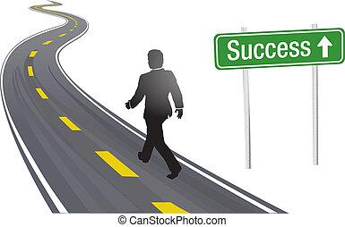 powodzenie, handlowy znaczą, chód, droga, człowiek