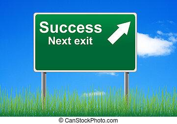 powodzenie, niebo, następny, tło., wyjście znaczą, droga