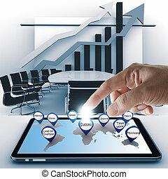 powodzenie, tabliczka, kropka, ręka, handlowy komputer, ikona