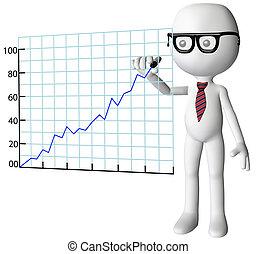 powodzenie, towarzystwo, wykres, dyrektor, wzrost, rysunek