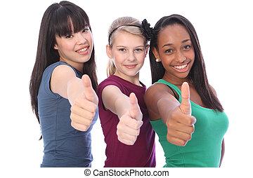 powodzenie, trzy, zmieszać, student, etniczny, drużki