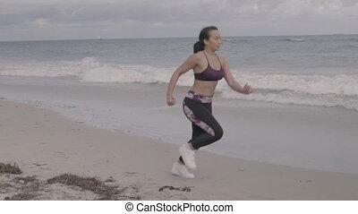 powolny, atak, plaża., młody, lekkoatletyka, ruch, shots., wyścigi, kobieta, stabilizator, wspaniały