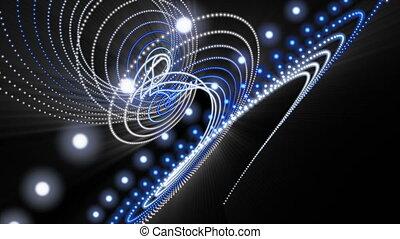 powolny, cząstka, lekki, obiekt, futurystyczny, migotanie, ożywienie, video, hd, ruch, pętla, pas