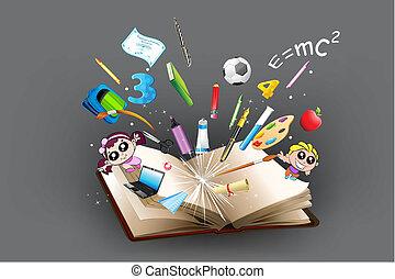 poza, obiekt, wykształcenie, książka, nadchodzący