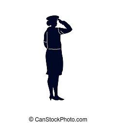 pozdrawiać, żołnierz, samica