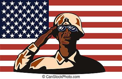 pozdrawianie, afrykańska-amerikanka, żołnierz