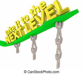 poziom, wyniki, to, ilustracja, następny, wziąć, strzała, drużyna, podnoszenie, 3d