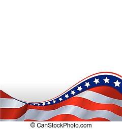 poziomy, bandera, amerykanka, tło