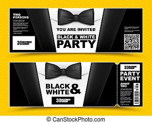 poziomy, banners., shirt., biały, invitations., krawat, elegancki, wektor, czarnoskóry, biznesmeni, garnitur, partia, bilet, łuk, wypadek, karta