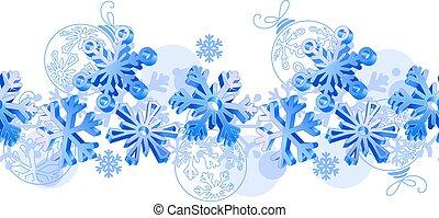 poziomy wzór, błękitny, seamless, snowflakes., 3d