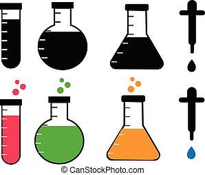 poznaczcie., wyposażenie, chemiczny, nauka, biały, komplet, chemia, pracownia, tło., equipment.