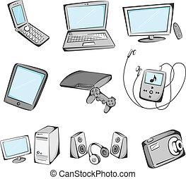 pozycje, elektronika, ikony