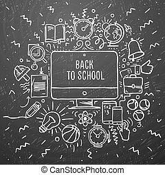 pozycje, rysunek, kreda, freehand, szkoła