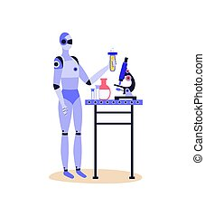 próba, aptekarz, robot, puchar, dzierżawa, płyn, szkło, żółty, albo, rura