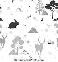 próbka, abstrakcyjny, seamless, forest., zima