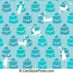 próbka, błękitny, seamless, drzewa, króliki