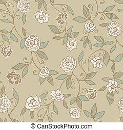 próbka, backgrounds., róże, wektor, albo, projektowanie, kwiatowy, tapeta, tło, barwny, scrapbooking, seamless, zielony, budowla