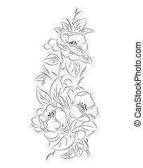 próbka, czarnoskóry, wektor, kwiat, biały