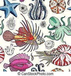 próbka, deepwater, seamless, organizmy