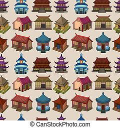 próbka, dom, seamless, rysunek, chińczyk