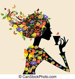 próbka, dziewczyna, kwiaty, filiżanka