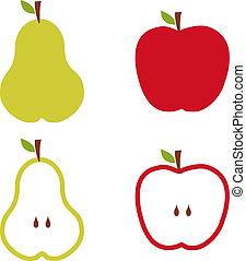 próbka, gruszowe jabłko, illustration.
