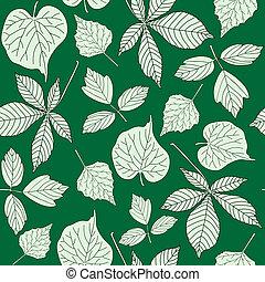 próbka, hand-drawn, seamless, liście