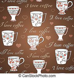 próbka, kawa, wektor, miłość, seamless