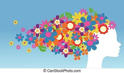próbka, kwiaty, dziewczyna