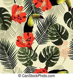 próbka, liście, papuga, seamless, tropikalny, tukan, dłoń, kwiaty