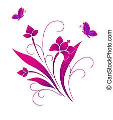 próbka, motyle, kwiat