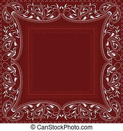 próbka, paisley, biały, bandana-, czerwony